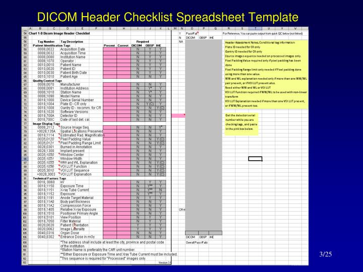 Dicom header checklist spreadsheet template