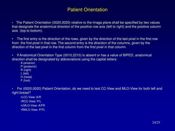 Patient Orientation