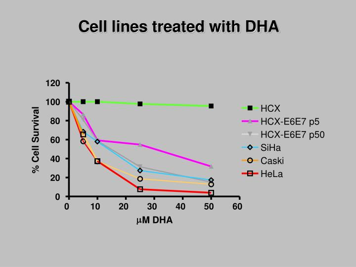 Cell lines treated with DHA