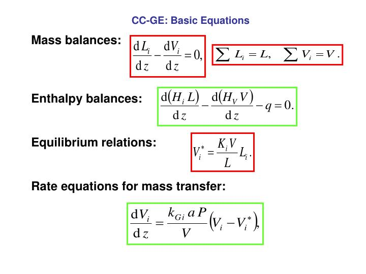 CC-GE: Basic Equations