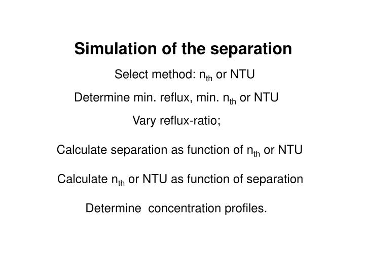 Simulation of the separation
