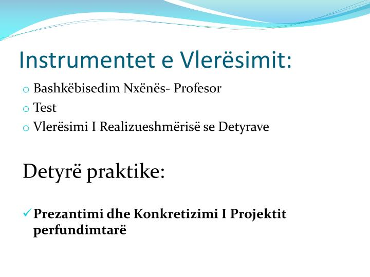 Instrumentet e Vlerësimit: