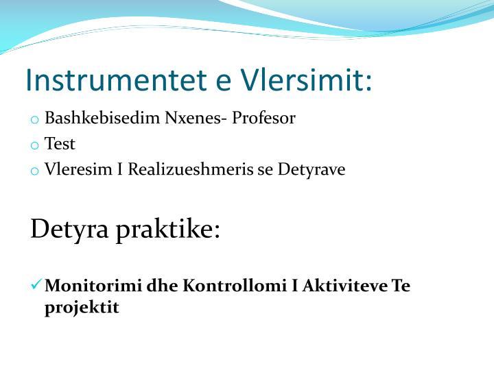 Instrumentet e Vlersimit: