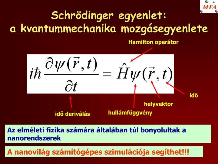 Schrödinger egyenlet: