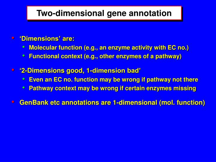 Two-dimensional gene annotation