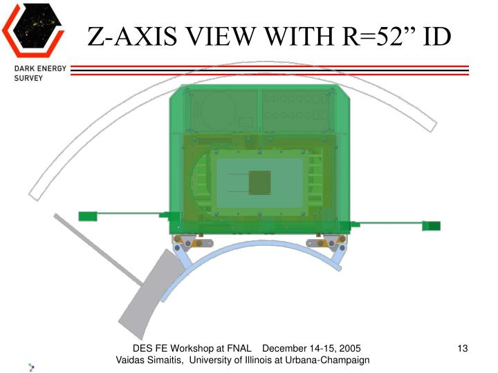 "Z-AXIS VIEW WITH R=52"" ID"