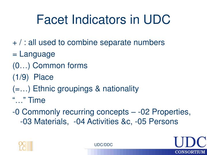 Facet Indicators in UDC