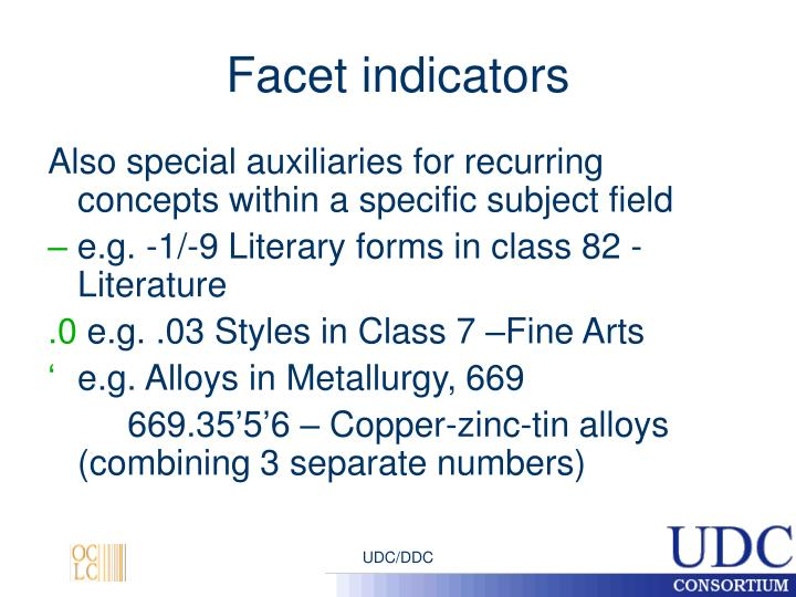 Facet indicators