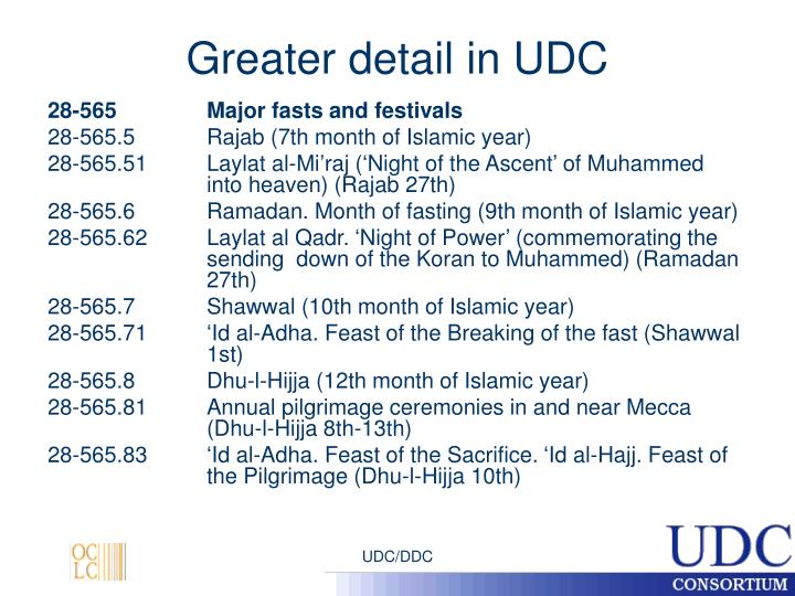 Greater detail in UDC