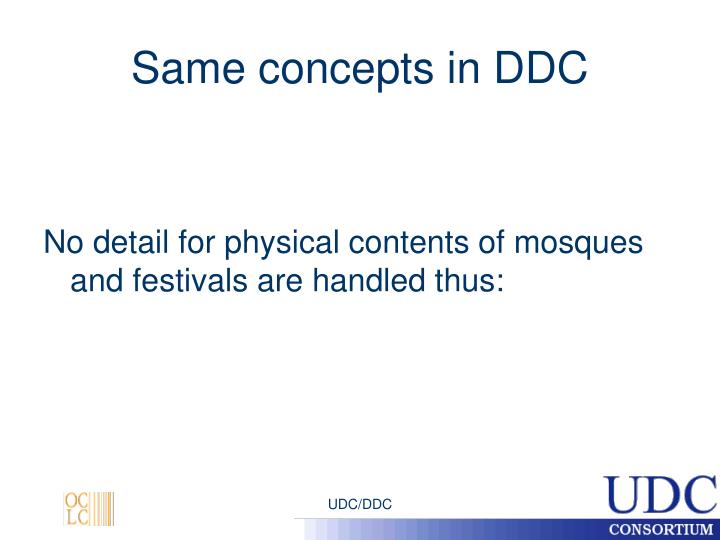 Same concepts in DDC