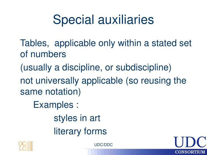 Special auxiliaries