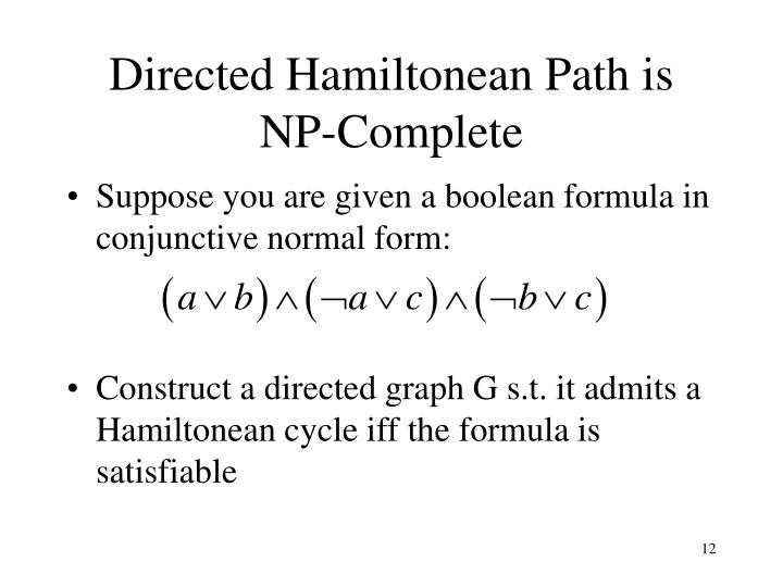 Directed Hamiltonean Path is NP-Complete