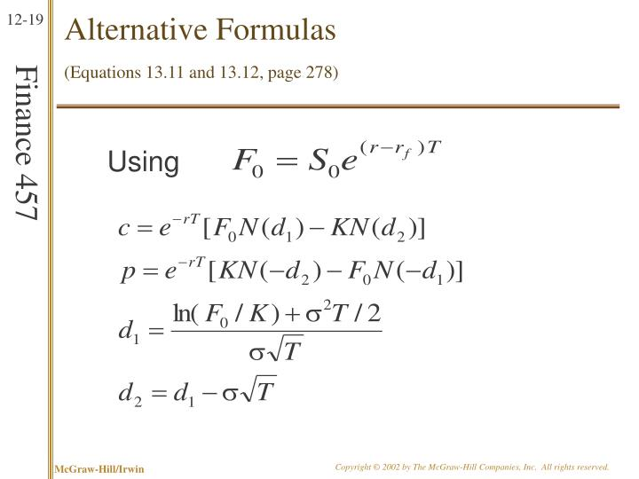 Alternative Formulas