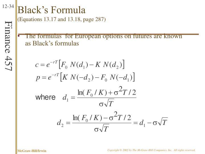 Black's Formula