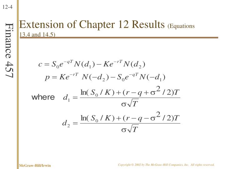 Extension of Chapter 12 Results