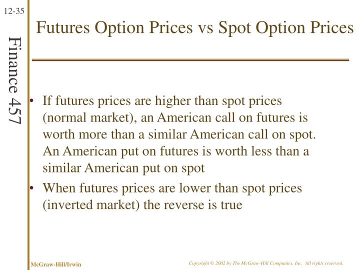 Futures Option Prices vs Spot Option Prices