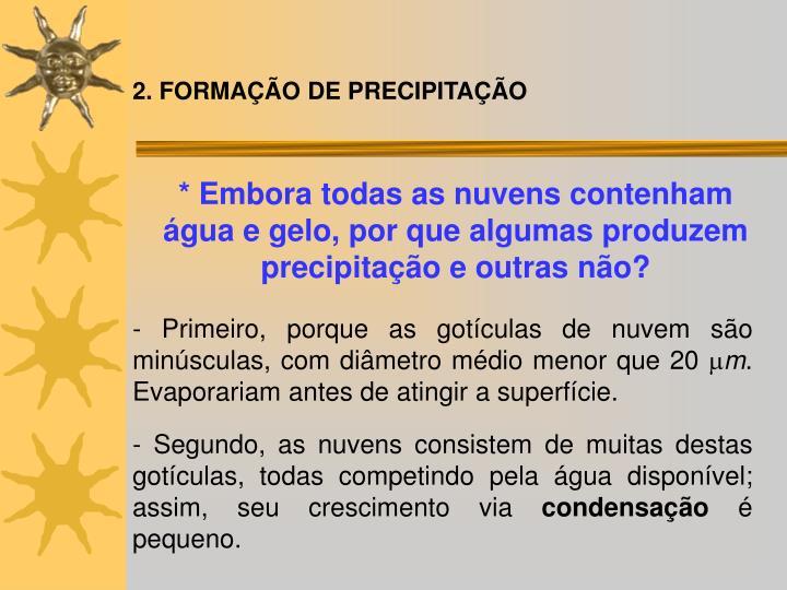 2. FORMAÇÃO DE PRECIPITAÇÃO