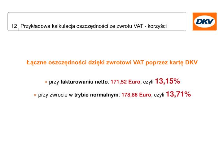 Przykładowa kalkulacja oszczędności ze zwrotu VAT - korzyści