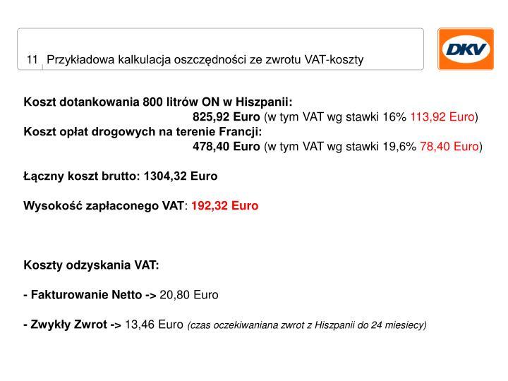 Przykładowa kalkulacja oszczędności ze zwrotu VAT-koszty