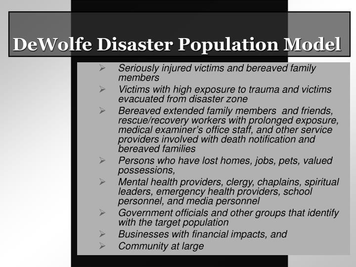 DeWolfe Disaster Population Model