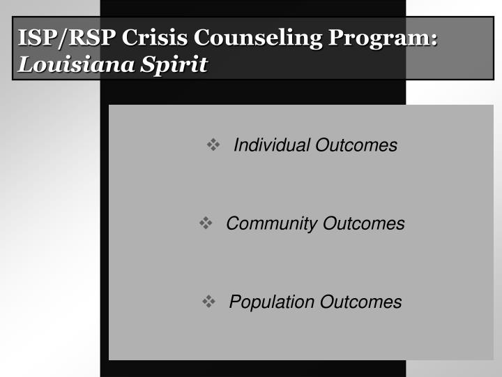 ISP/RSP Crisis Counseling Program: