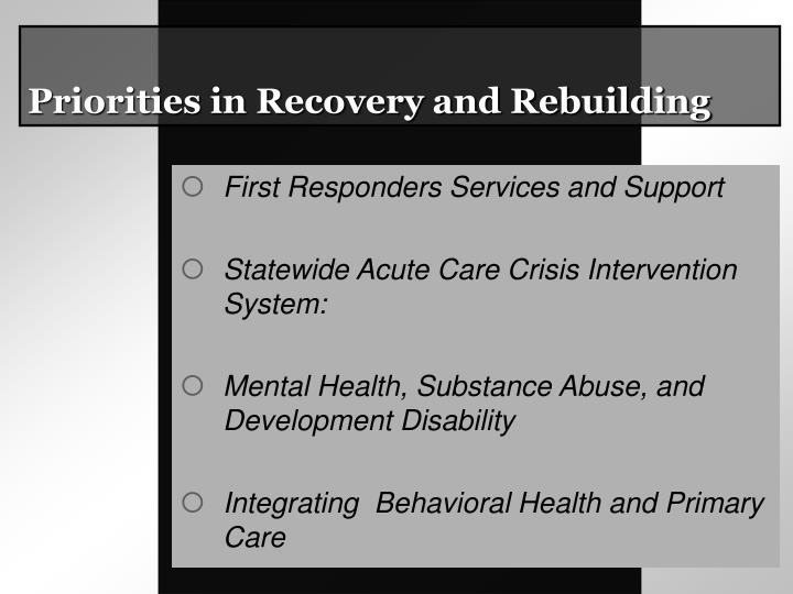 Priorities in Recovery and Rebuilding