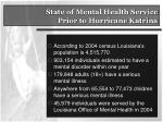 state of mental health service prior to hurricane katrina