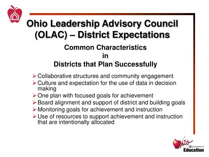 Ohio Leadership Advisory Council (OLAC) – District Expectations