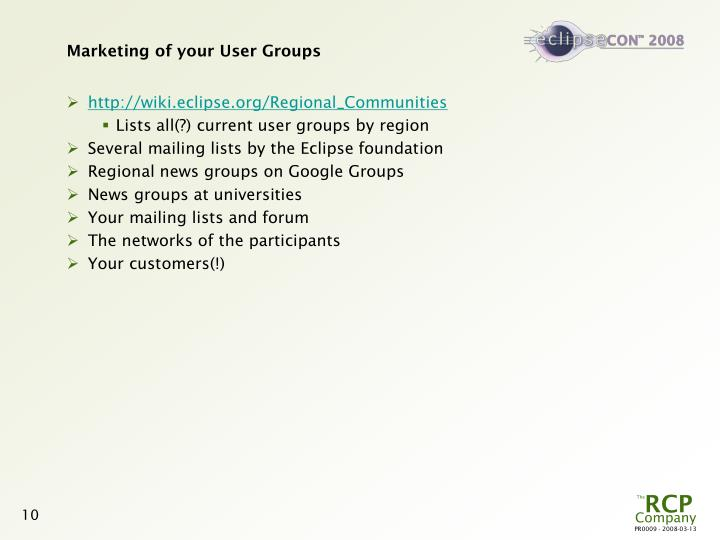 Marketing of your User Groups