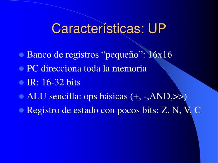 Características: UP