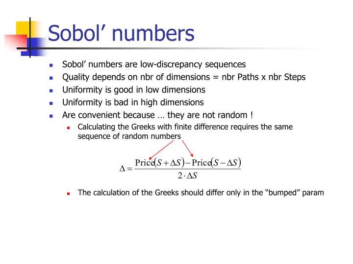Sobol' numbers
