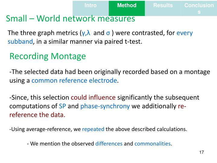 Small – World network measures