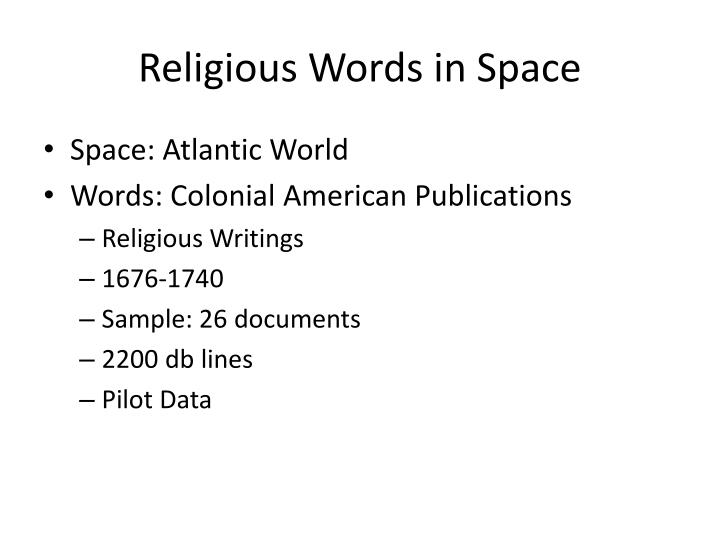 Religious Words in Space