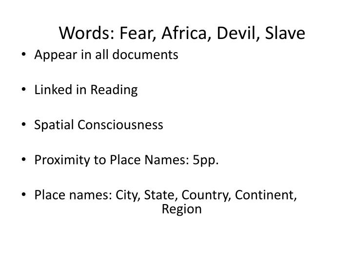 Words: Fear, Africa, Devil, Slave