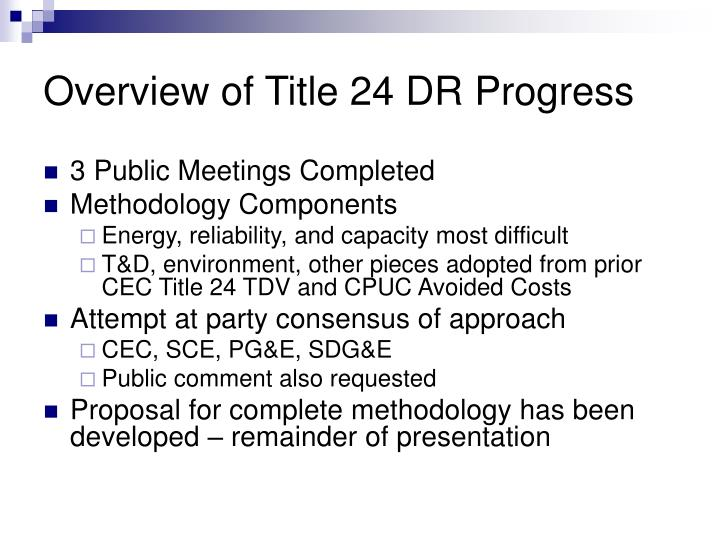 Overview of Title 24 DR Progress