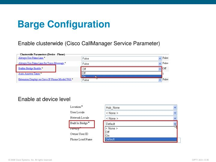 Barge Configuration