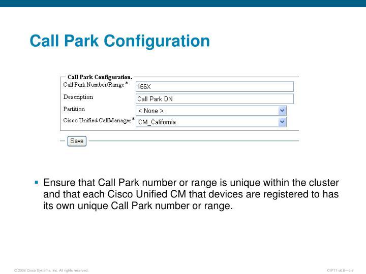 Call Park Configuration