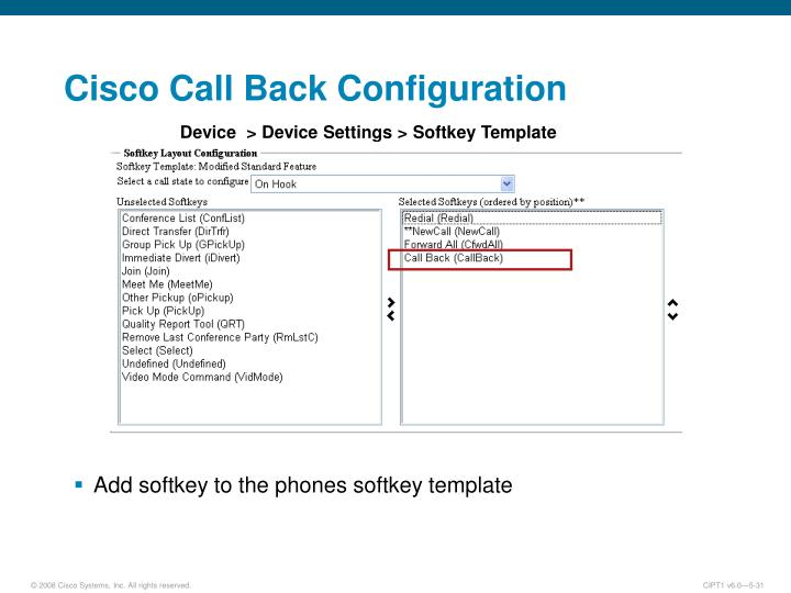 Cisco Call Back Configuration