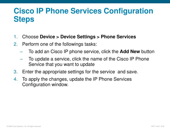 Cisco IP Phone Services Configuration Steps