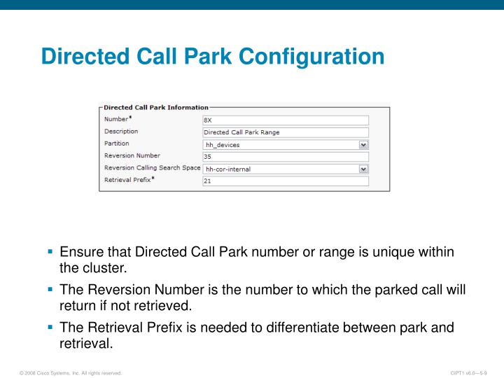 Directed Call Park Configuration