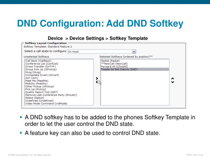 DND Configuration: Add DND Softkey