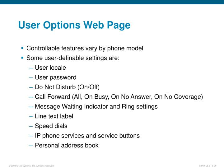 User Options Web Page