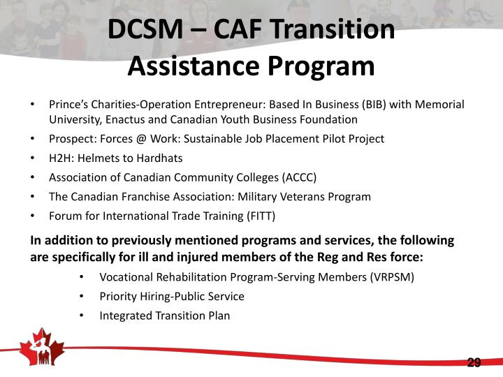 DCSM – CAF Transition
