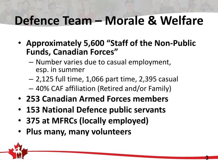Defence team morale welfare