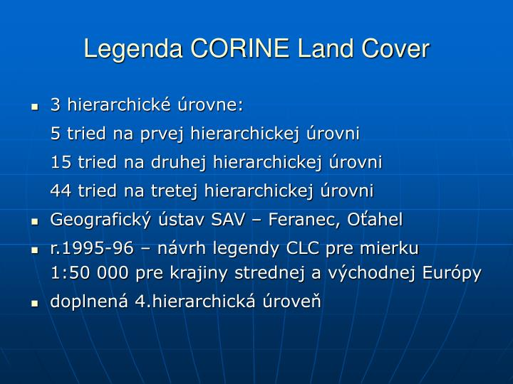 Legenda CORINE Land Cover