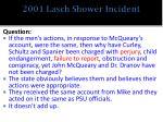 2001 lasch shower incident
