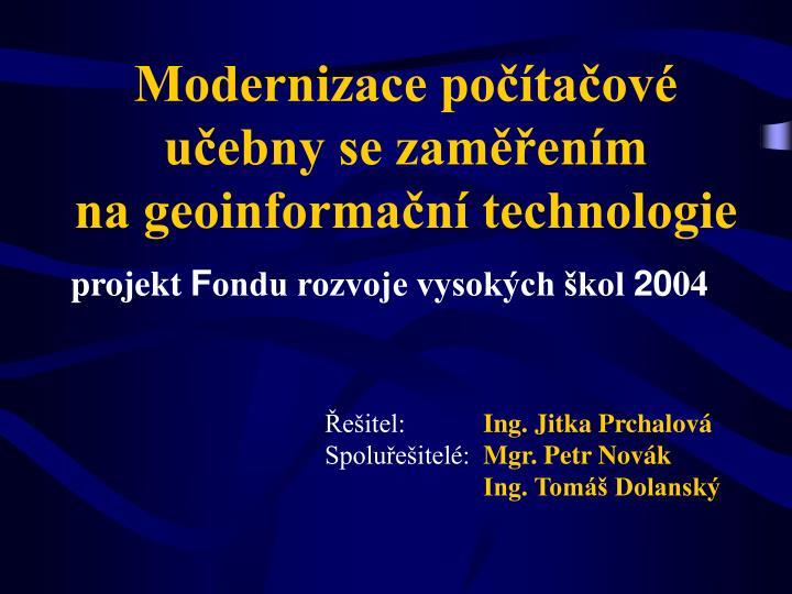 Modernizace počítačové učebny se zaměřením
