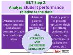 blt step 2 analyze student performance relative to the data