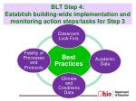 blt step 4 establish building wide implementation and monitoring action steps tasks for step 3
