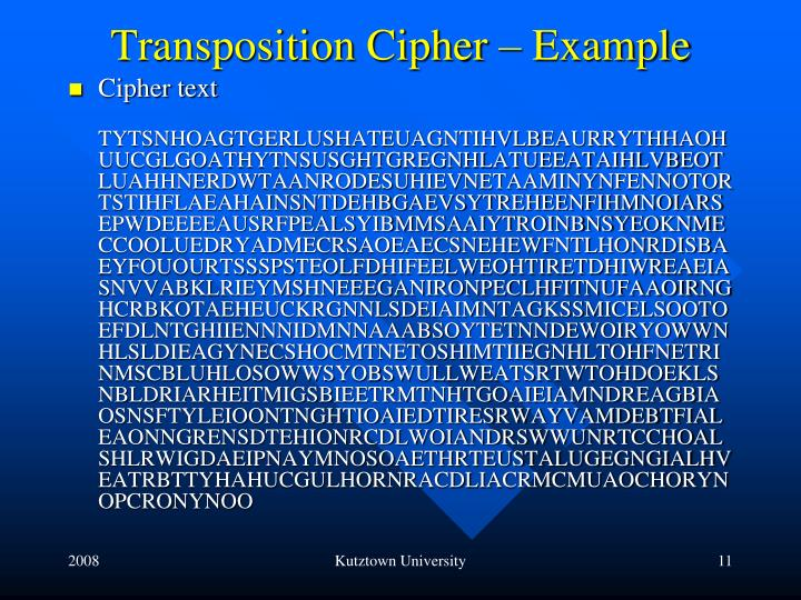Transposition Cipher – Example